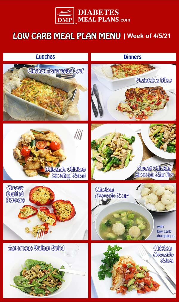 Diabetes Meal Plan: Menu Week of 4/5/21