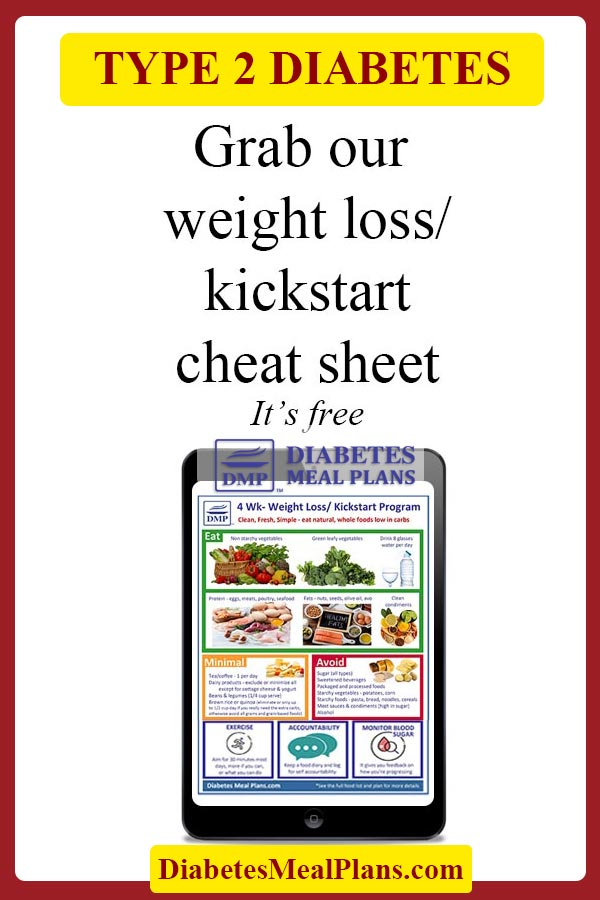 Free weight loss cheat sheet for people with type 2 diabetes