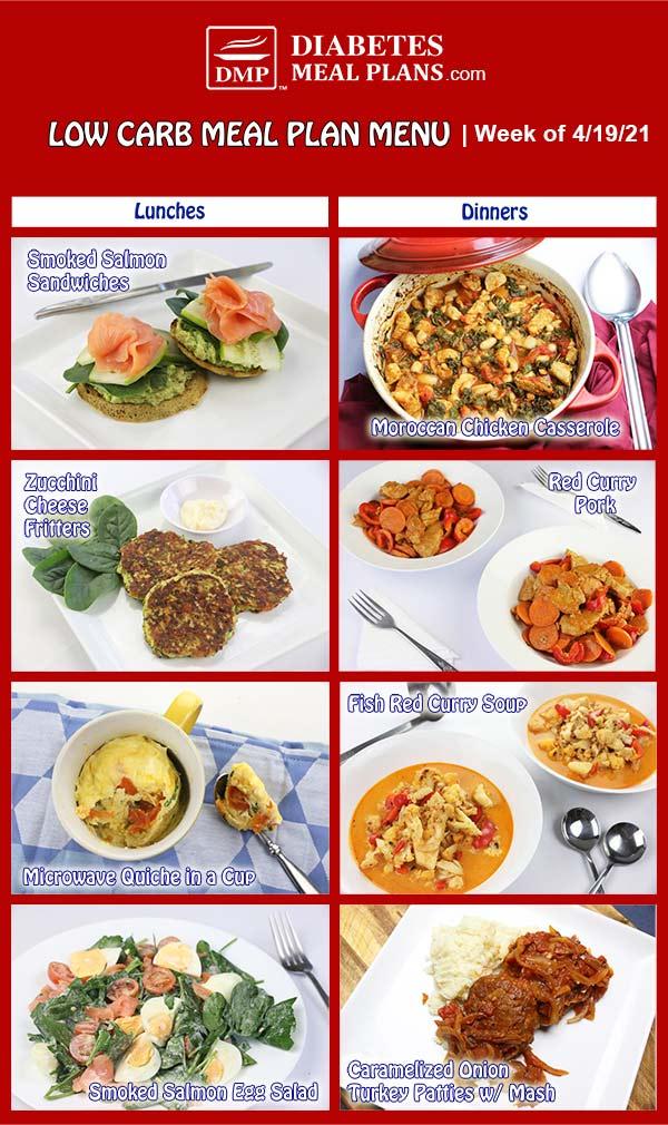 Diabetes Meal Plan: Menu Week of 4/19/21