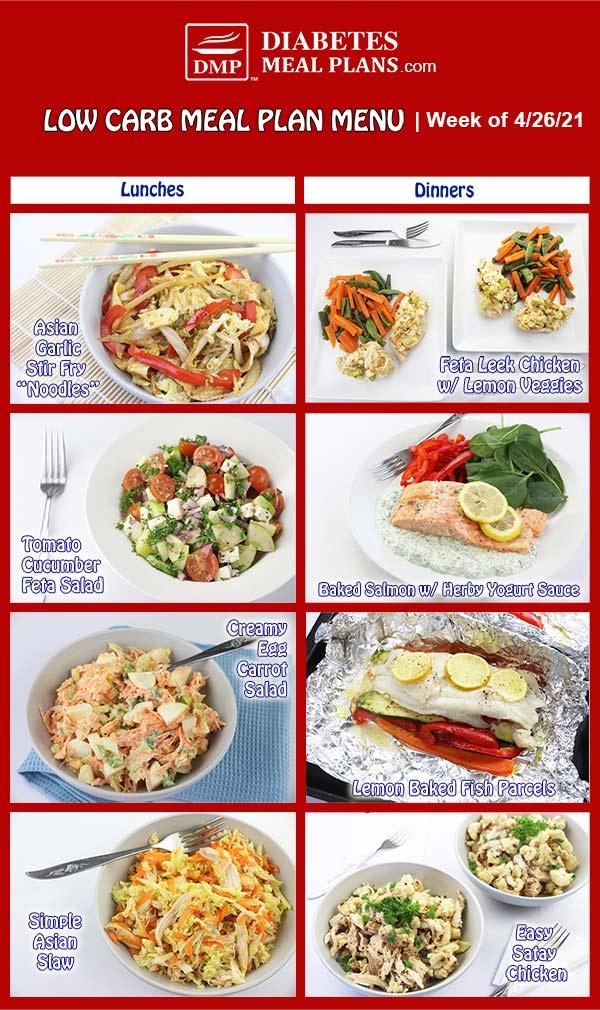 Diabetes Meal Plan: Menu Week of 4/26/21