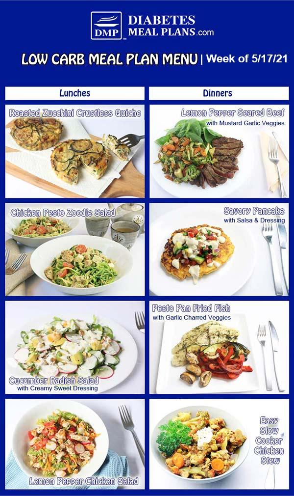 Diabetes Meal Plan: Menu Week of 5/17/21