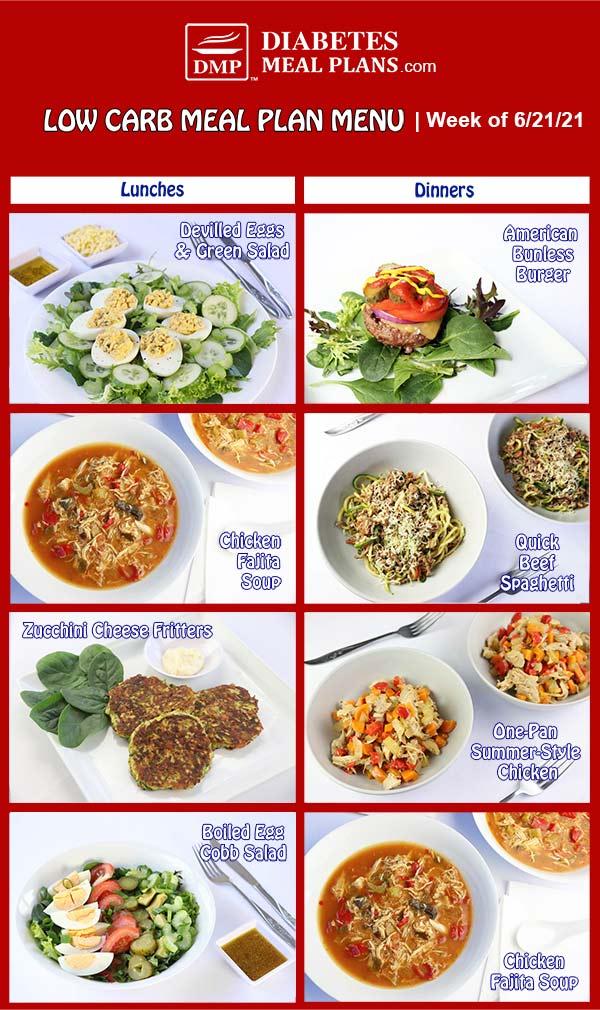 Diabetes Meal Plan: Menu Week of 6/21/21