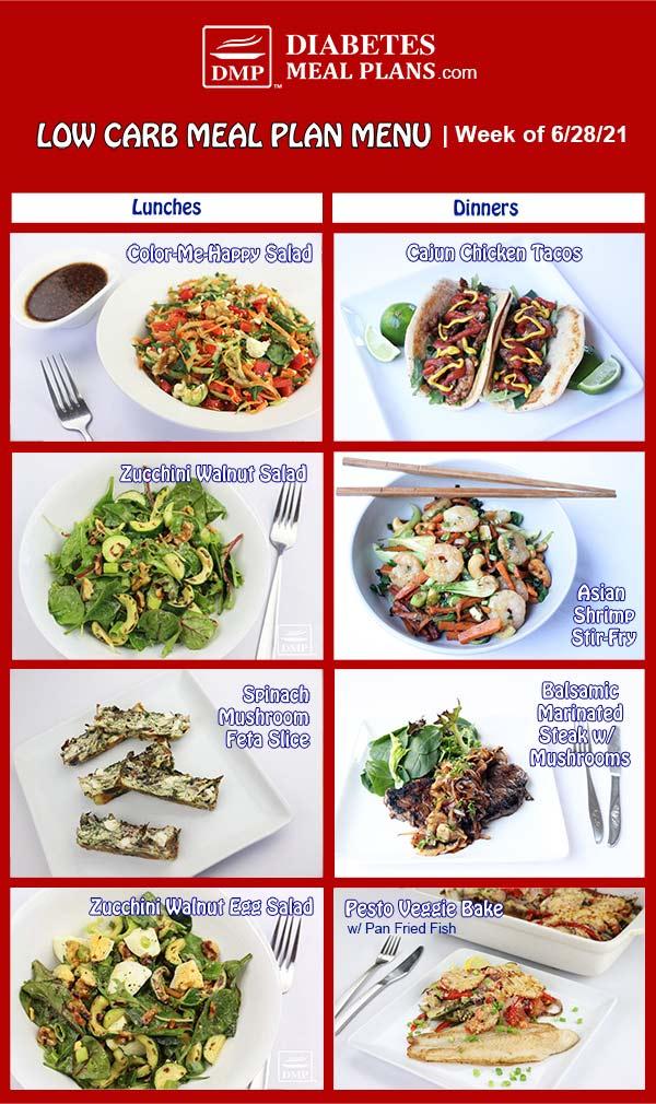 Diabetes Meal Plan: Menu Week of 6/28/21