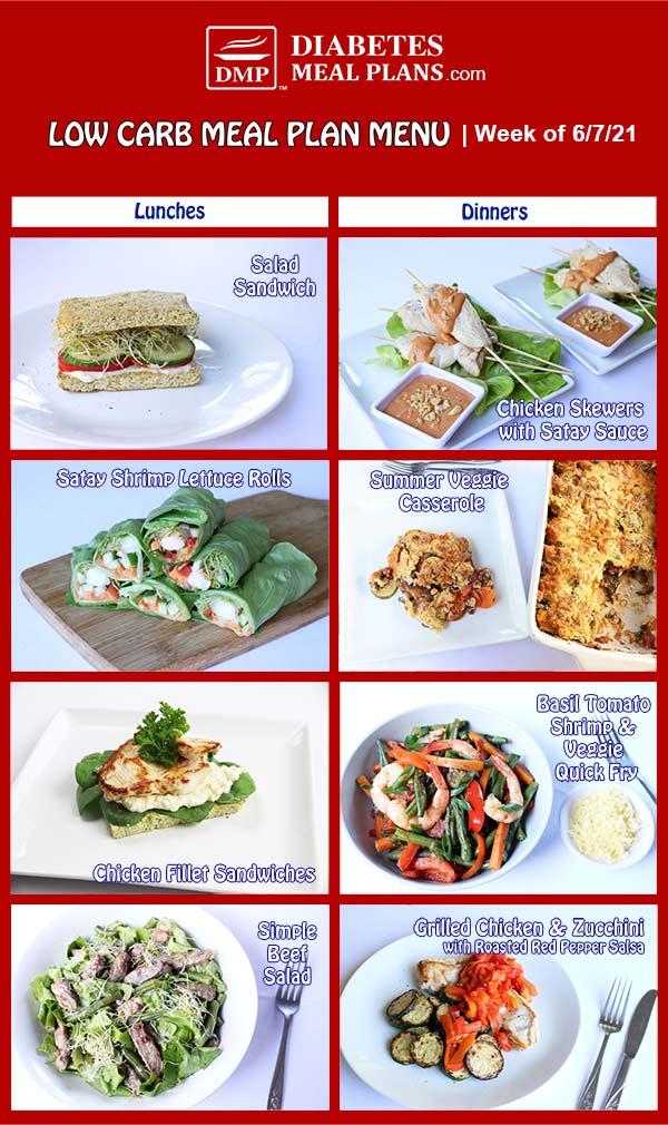 Diabetes Meal Plan: Menu Week of 6/7/21
