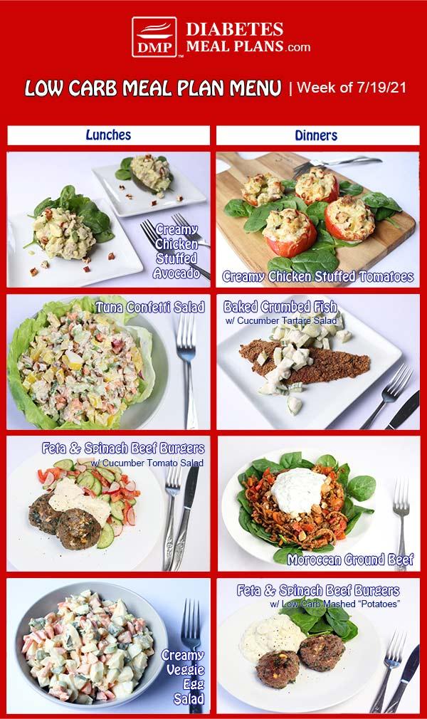 Diabetes Meal Plan: Menu Week of 7/19/21