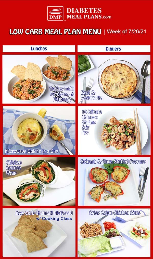 Diabetes Meal Plan: Menu Week of 7/26/21