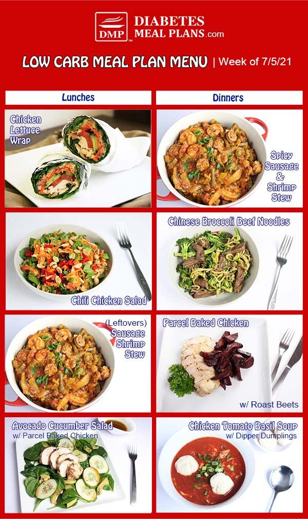 Diabetes Meal Plan: Menu Week of 7/5/21
