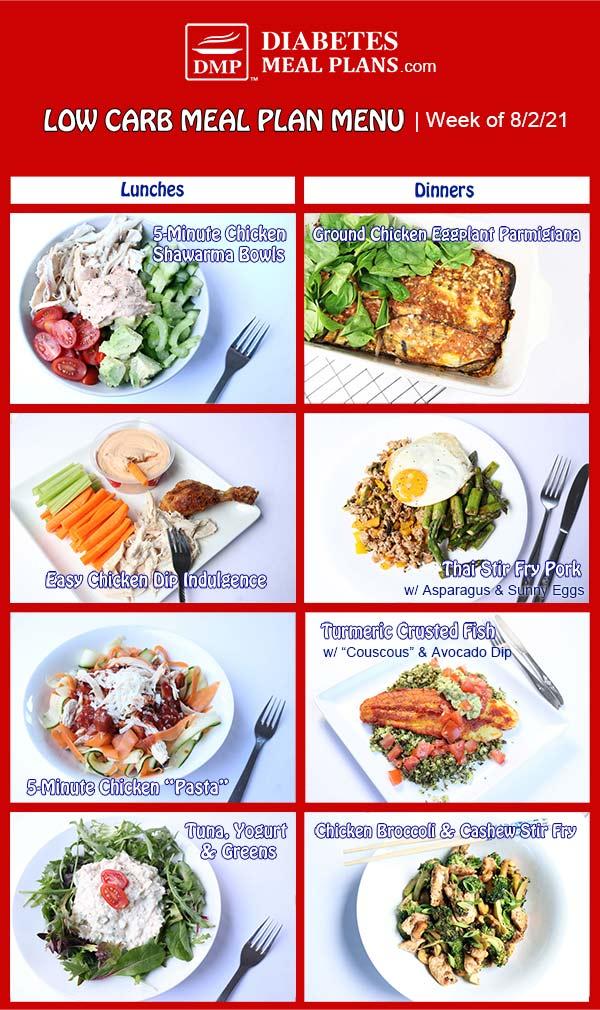 Diabetes Meal Plan: Menu Week of 8/2/21