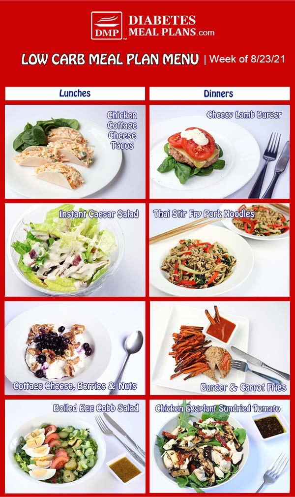 Diabetes Meal Plan: Menu Week of 8/23/21