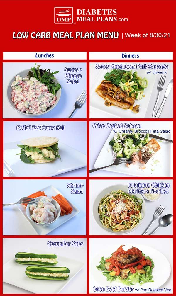 Diabetes Meal Plan: Menu Week of 8/30/21