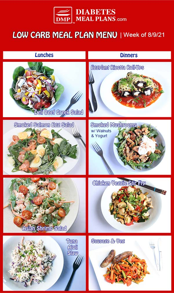 Diabetes Meal Plan: Menu Week of 8/9/21